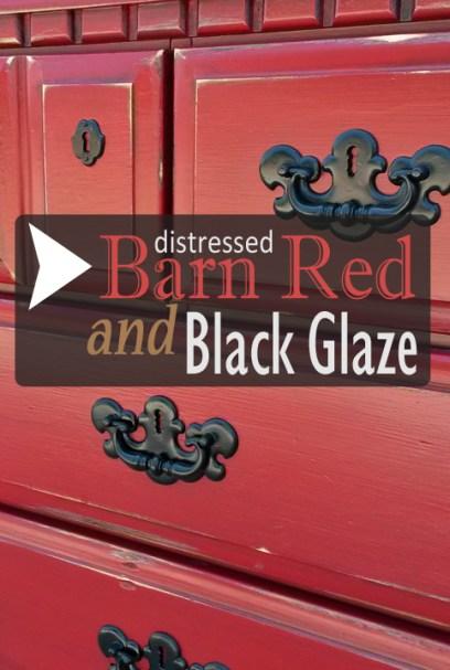 Dresser in Distressed Barn Red adn Black Glaze - DIY Inspiration from Facelift Furniture