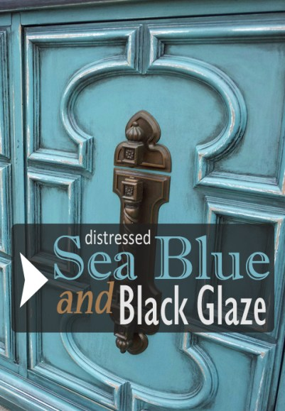 Vintage cabinet in distressed Sea Blue with Black Glaze - from the Facelift Furniture DIY blog