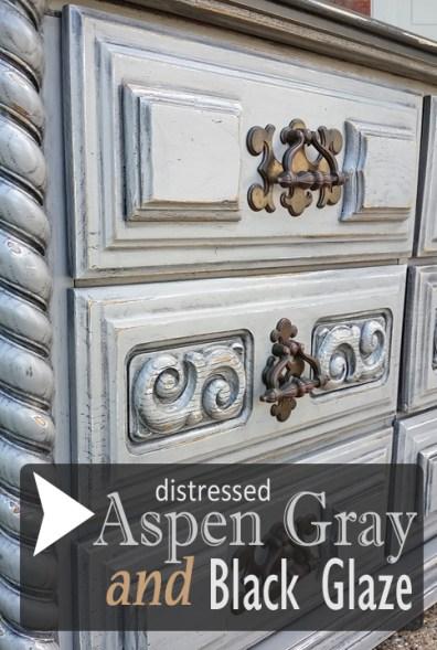 Retro Dresser in Distressed Aspen Gray & Black Glaze - DIY Inspiration from Facelift Furniture