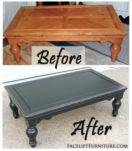 Chunky coffee table given a new life in distressed Black - Before and After from Facelift Furniture