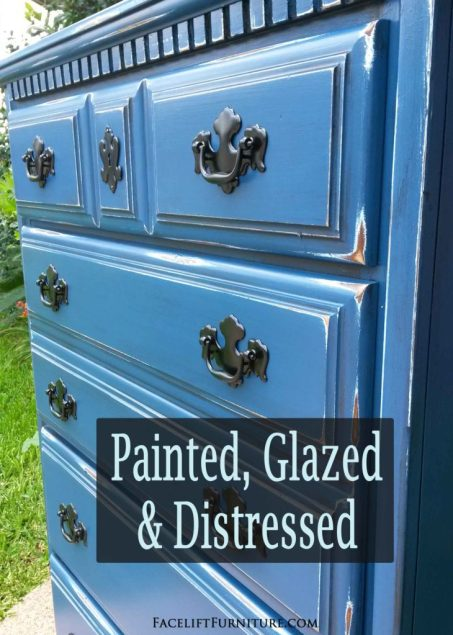 Chest of Drawers in distressed Denim Blue and Black Glaze - DIY Inspiration from Facelift Furniture