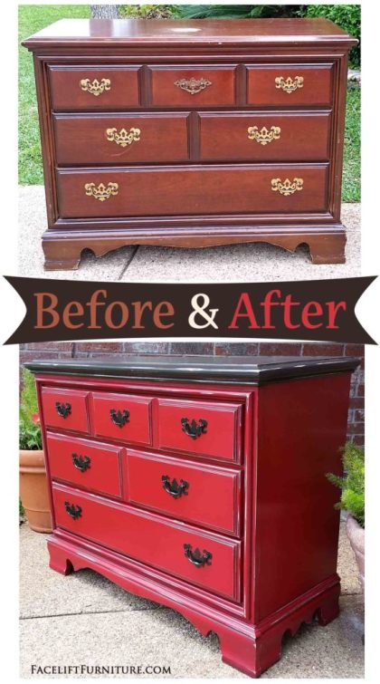 Dresser in Barn Red & Dark Brown - Before & After from Facelift Furniture