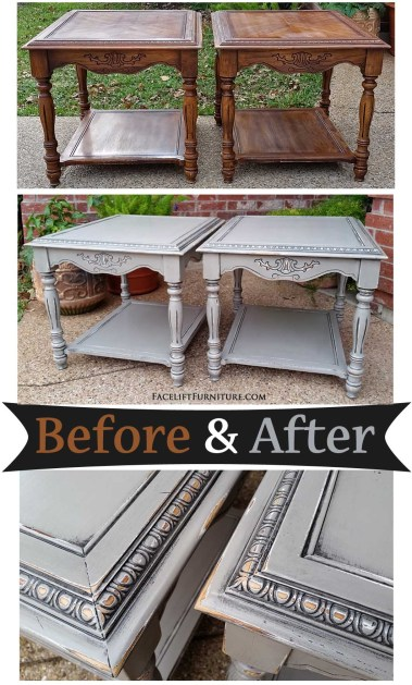 Oak end tables in distressed Aspen Gray with Black Glaze - Before and After from Facelift Furniture