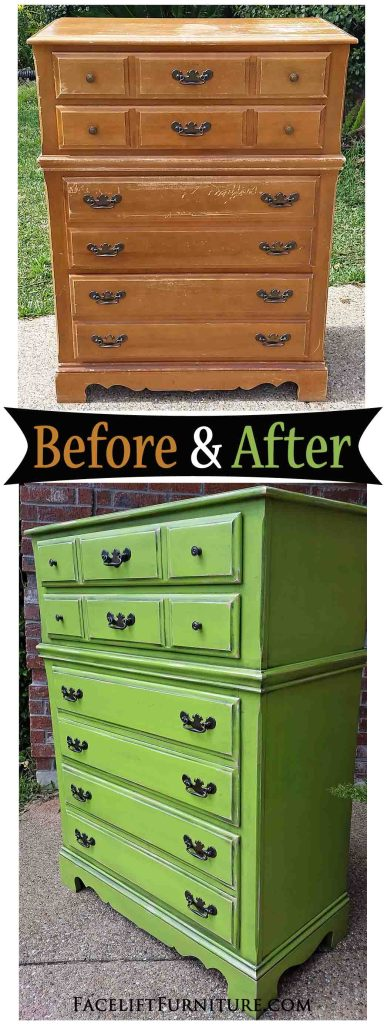 Vintage Maple Chest in Lime Green - Before and After from Facelift Furniture!
