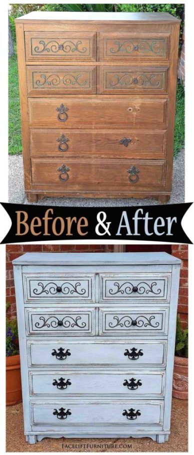 Art Deco Chest in Robin's Egg Blue & Black Glaze - Before & After from Facelift Furniture