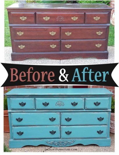 Distressed Sea Blue Dresser with Black Glaze - Before & After from Facelift Furniture