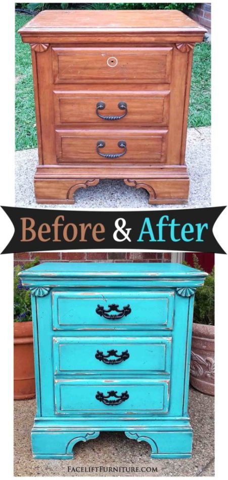 Old nightstand made new in distressed Turquoise & black glaze. Before & After inspiration from Facelift Furniture