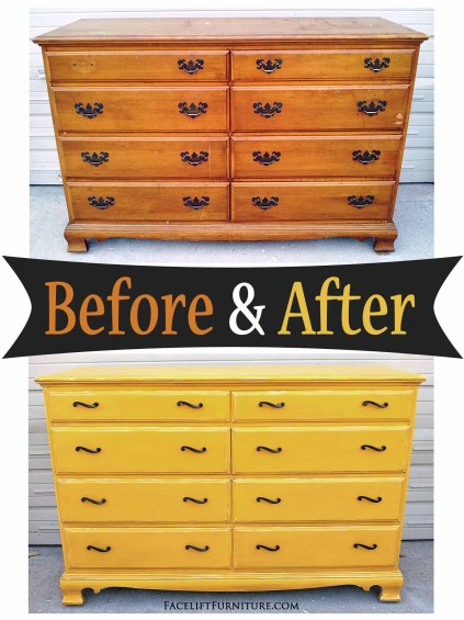 Old Maple Dresser Refinished in Yellow - Before & After