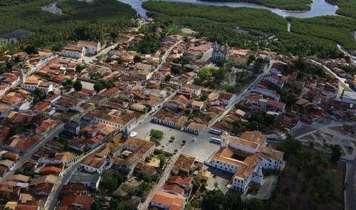 Aerial View, the city and the rivers Vaza-Barris and Paramopama, São Francisco Square in the town of São Cristovão
