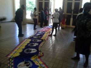 MCP party cloth laid on the floor in phraise for Chakwera