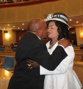 Kaliati and her husband kissing