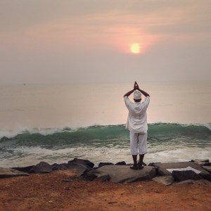 Sun salute, morning, meditation, sunrise, seashore, yoga, Pondicherry, Tamil Nadu, South India, India, Faces Places and Plates Blog, Heritage, Tamil Nadu, Food Travel, Food Tourism, Indian Food, Culinary Tours, Karen Anderson, Pauli-Ann Carriere