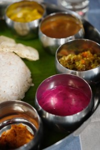 vegetable thali, South Indian cuisine, banana leaf, Faces Places and Plates blog