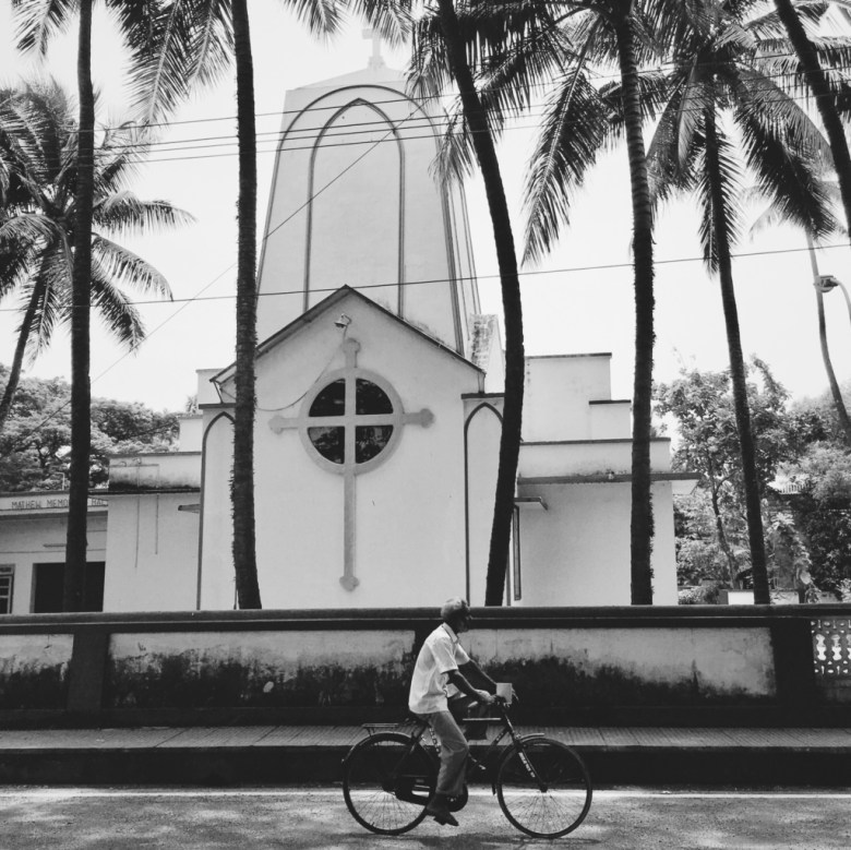 Syrian Christian church, cyclist, Kochi, Kerala, South India, India, Faces Places and Plates blog