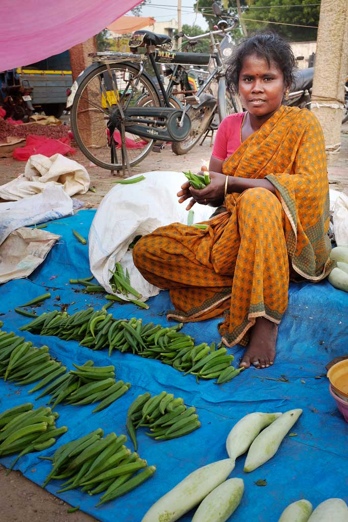 An Indian woman dressed in a gauzy orange and green checked sari sits on a blue tarp and sells neatly arranged green okra in a market outside of Madurai.