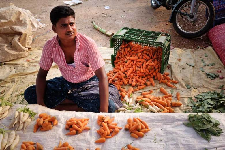 An Indian man wearing a pink and white striped button up shirt sits on the ground in front of his neatly composed groups of carrots and green beans in a vegetable market outside of Madurai.