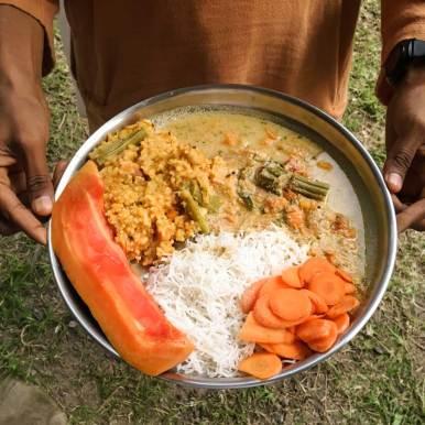 Dinner at Isha Yoga Center in Coimbatore, Tamil Nadu, India