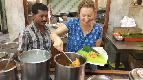 Karen learns to package a South India lunch to go