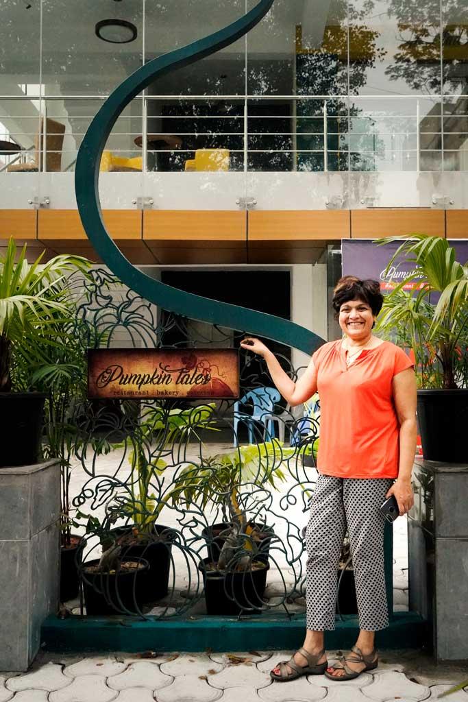 Chindi at her Pumpkin Tales Restaurant