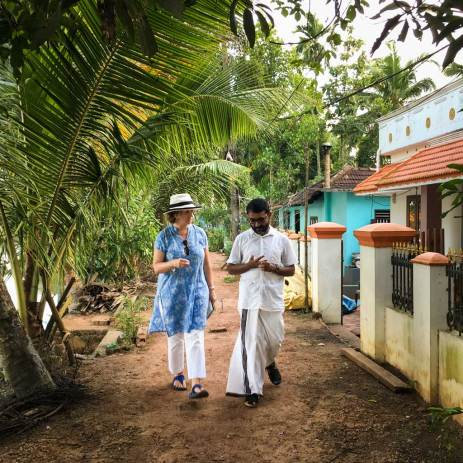 A village walk with Mr Thomas of Green Palms Homestay.