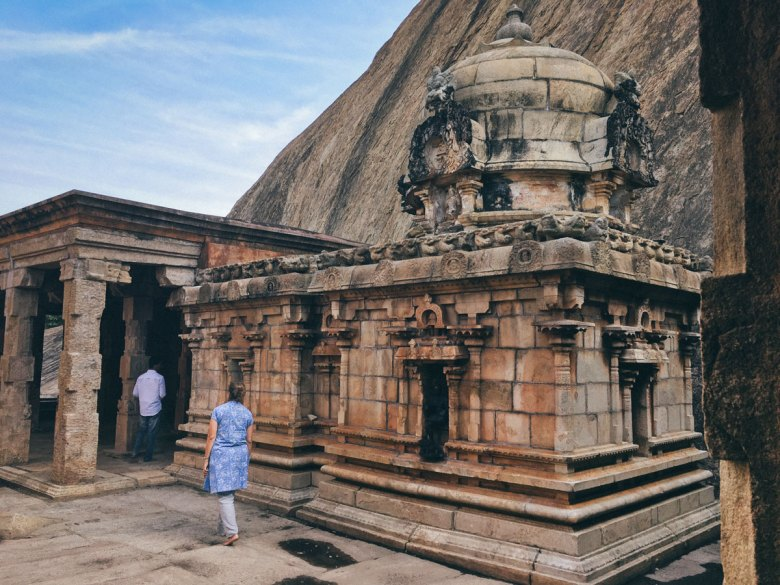 Karen walks amongst a quiet Shiva temple, found off the beaten track by our trusty driver Muraly.
