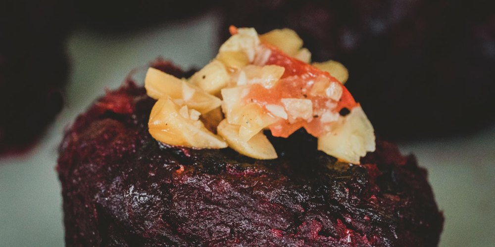 Beetroot patties with peanut salsa. Recipe courtesy of the 50 Mile Restaurant at CGH Spice Village and Chef Jerry Mathew.