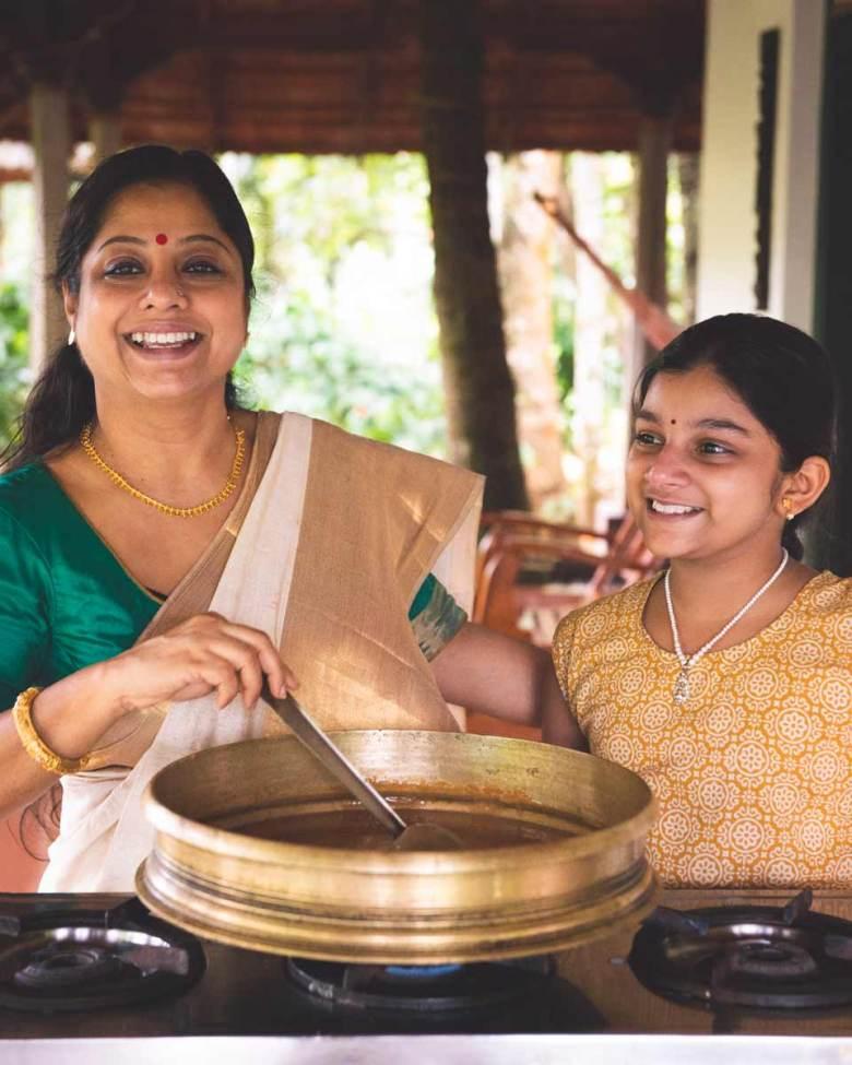 Ranjini Menon and Amuu making payasam with ripe bananas.