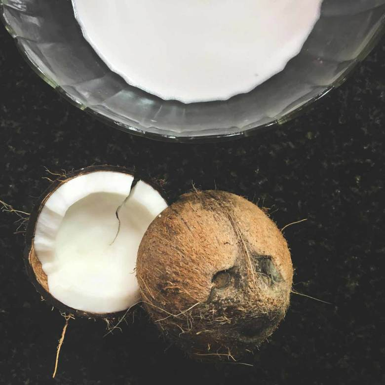 Split coconut and a bowl of coconut milk