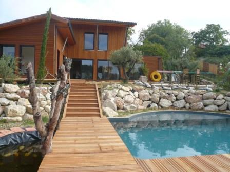 maison bois valence piscine