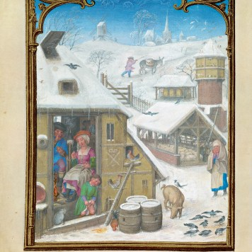 F. 2v. Calendar: February month represented with a rustic scene