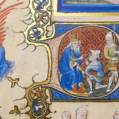 Historiated initial of the Très Belle Heures of Notre Dame