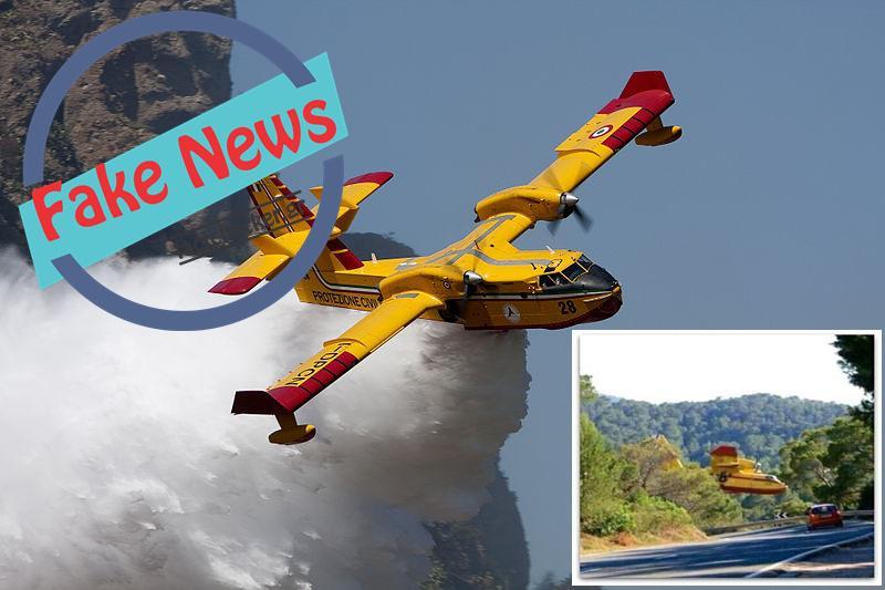 Canadair της ΠΑ περνά ξυστά από τον δρόμο για να σβήσει την φωτιά;