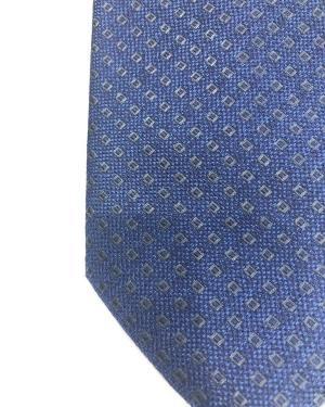 Cravatta Artigianale Pura Seta Micro-Rombo Blu