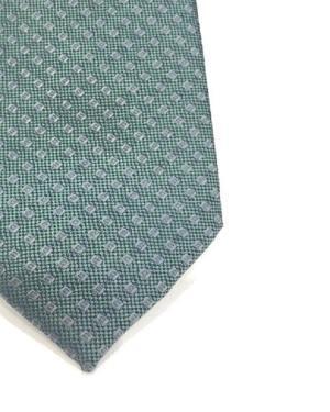 Cravatta Artigianale Pura Seta Micro-Rombo Verde