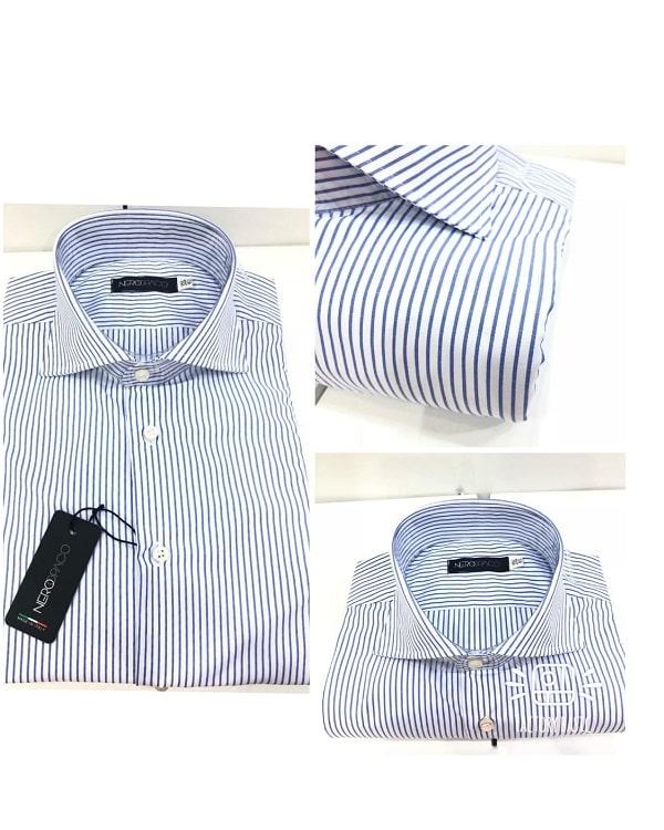 Camicia Da Uomo Cotone Rigata Blu