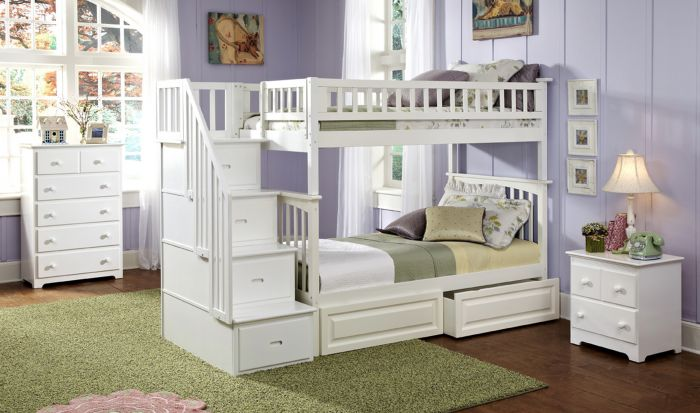 atlantic furniture columbia staircase bunk bed twin over twin with 2 raised panel bed drawers in a white finish