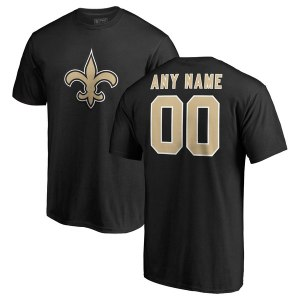 Men's New Orleans Saints NFL Pro Line Black Any Name & Number Logo Personalized T-Shirt
