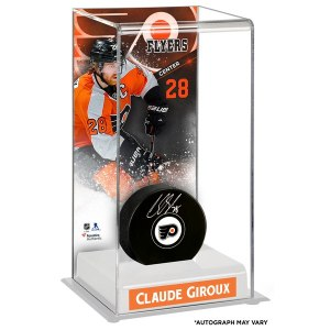 Autographed Philadelphia Flyers Claude Giroux Fanatics Authentic Puck with Deluxe Tall Hockey Puck Case