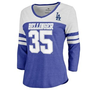 Women's Los Angeles Dodgers Cody Bellinger Fanatics Branded Royal/White Ace Name & Number 3/4-Sleeve V-Neck T-Shirt