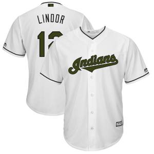 Men's Cleveland Indians Francisco Lindor Majestic White 2018 Memorial Day Cool Base Player Jersey