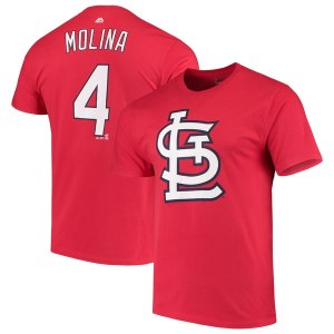 Men's St. Louis Cardinals Yadier Molina Majestic Red Double Play Cap Logo Name & Number T-Shirt
