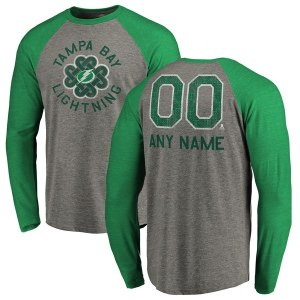 Men's Tampa Bay Lightning Fanatics Branded Heathered Gray Personalized St. Patrick's Day Luck Tradition Long Sleeve Tri-Blend Raglan T-Shirt