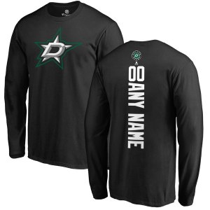Men's Dallas Stars Fanatics Branded Black Personalized Backer Long Sleeve T-Shirt