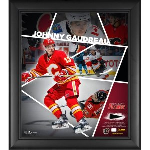 Calgary Flames Johnny Gaudreau Fanatics Authentic Framed 15'' x 17'' Impact Player Collage with a Piece of Game-Used Puck - Limited Edition of 500