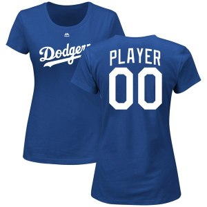 Women's Los Angeles Dodgers Majestic Royal Custom Roster Name & Number T-Shirt