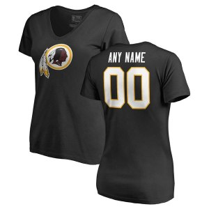 Women's Washington Redskins NFL Pro Line Black Personalized Name & Number Logo T-Shirt