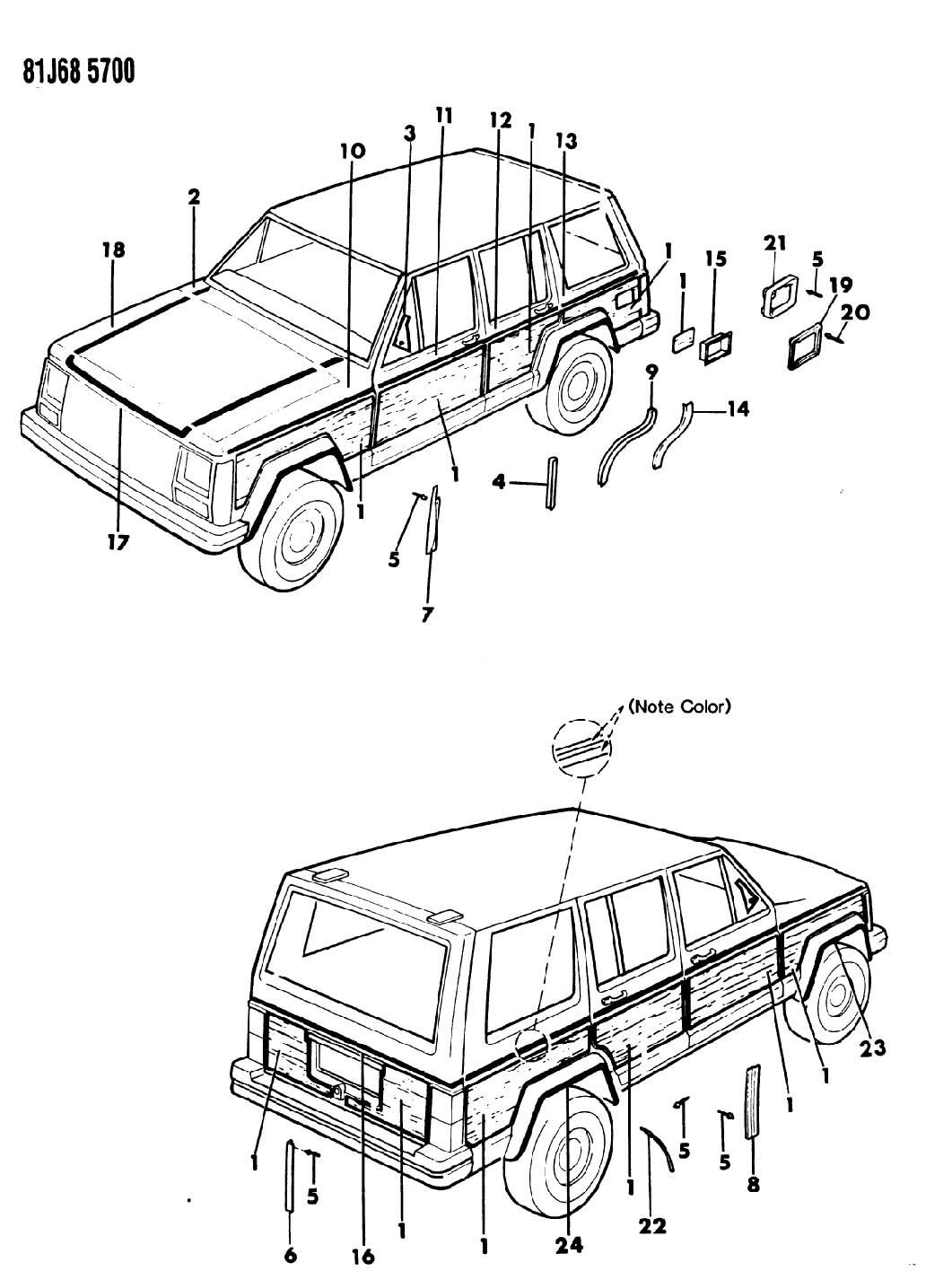 Nos Jeep Grand Wagoneer Cherokee Body Side