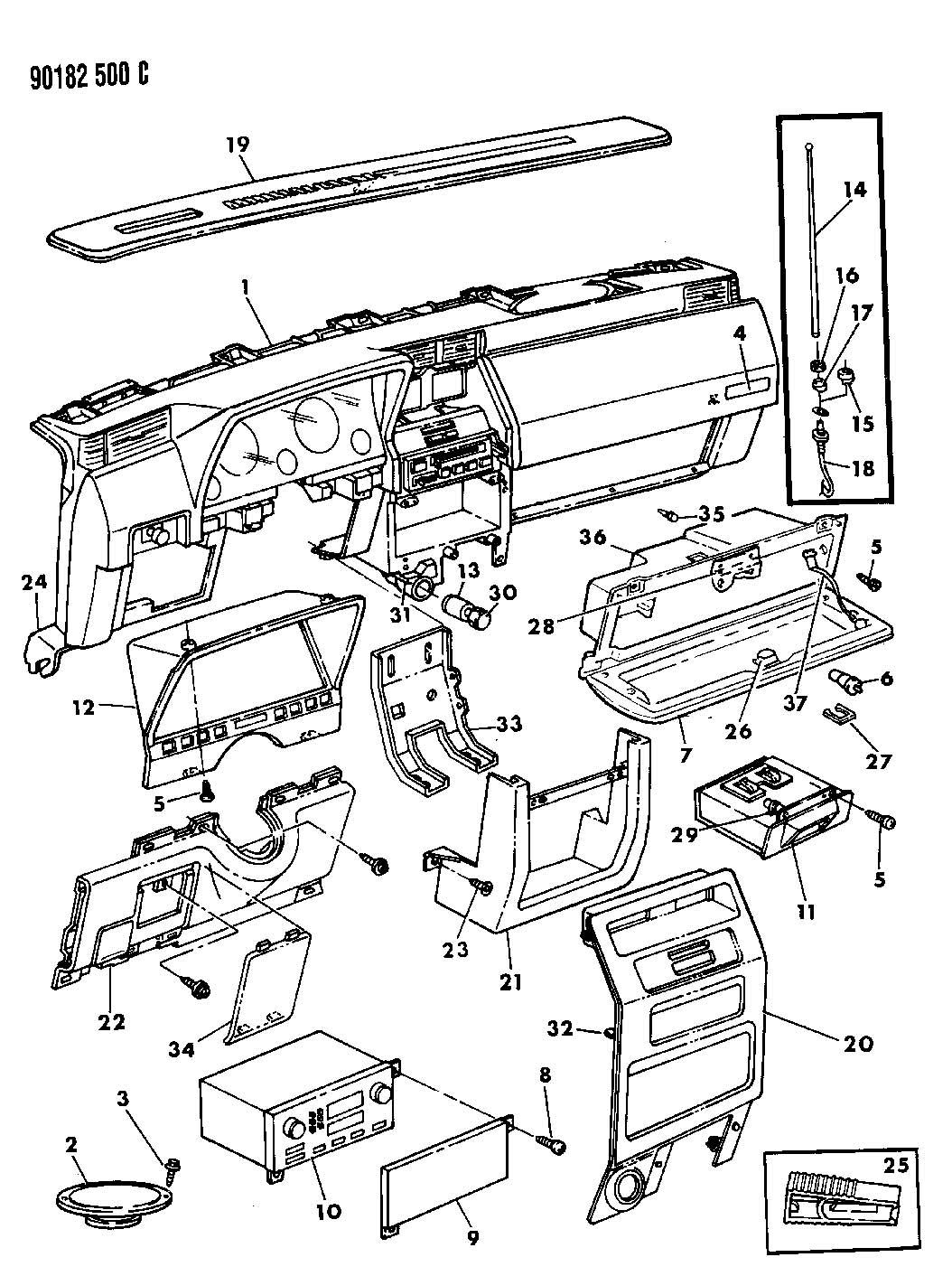 01 Dodge Ram Glove Box