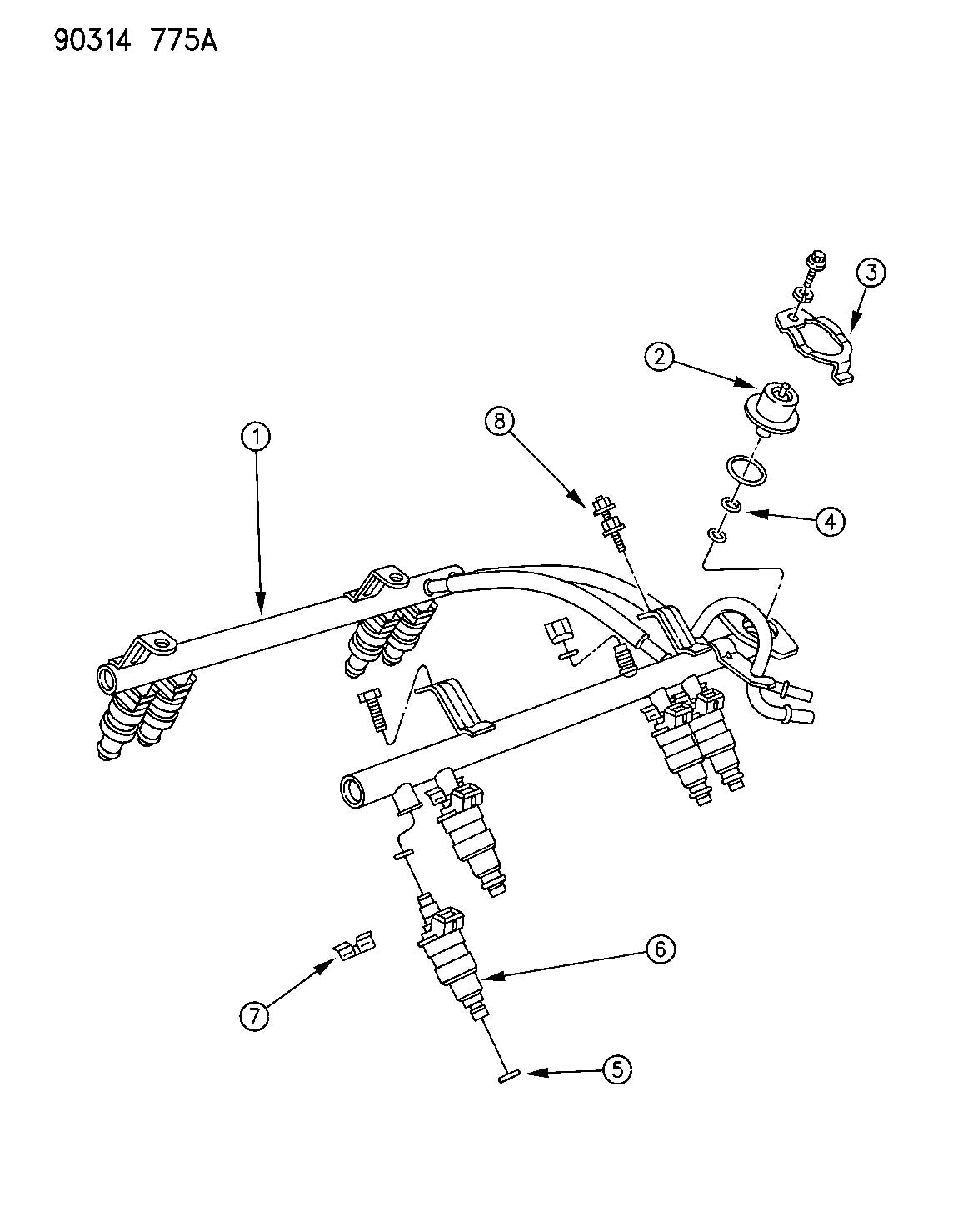 Dodge Dakota Fuel Rail 3 9l And 5 2l And 5 9l Engine