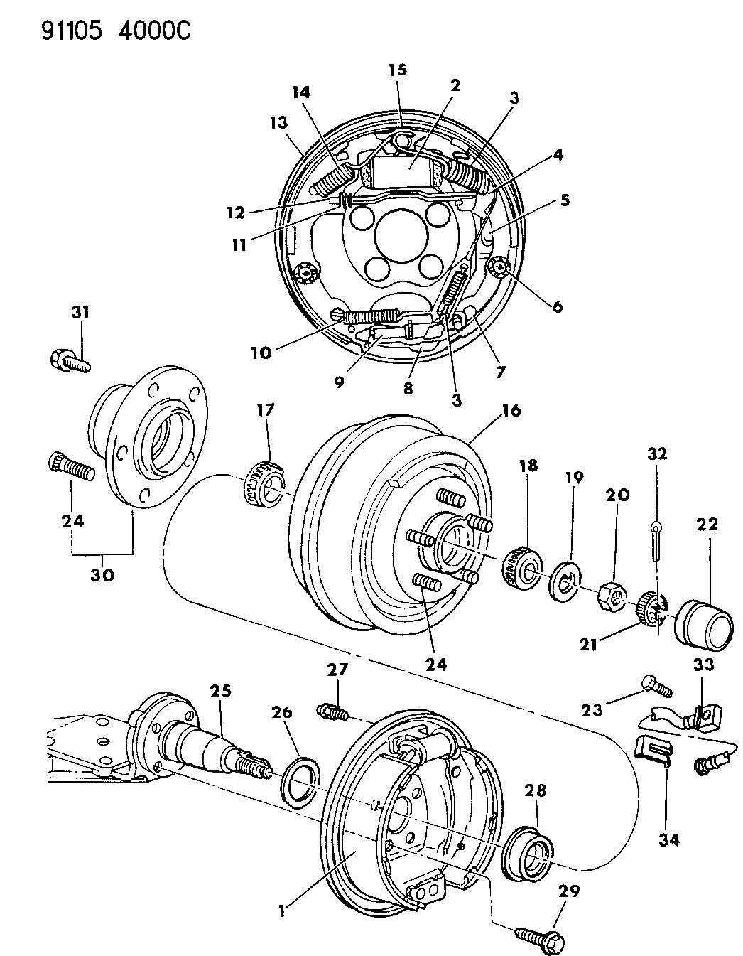 Chrysler Grand Voyager Bolt Mounting Wheel Cylinder